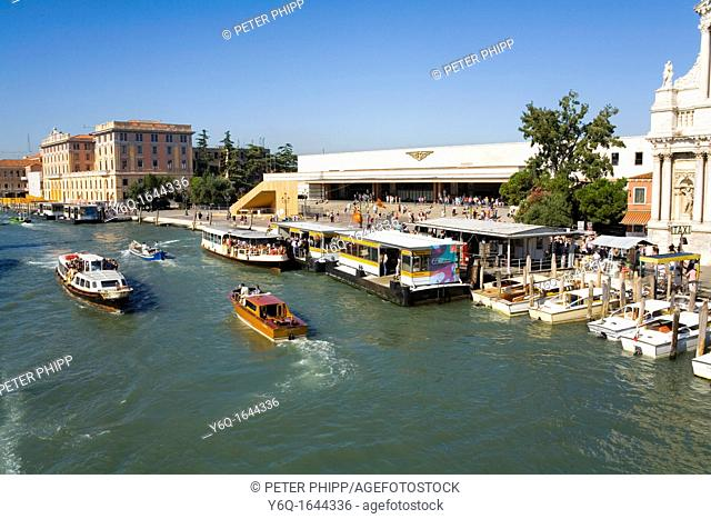 The Main railway Station and the Grand Canal at Venice in Italy