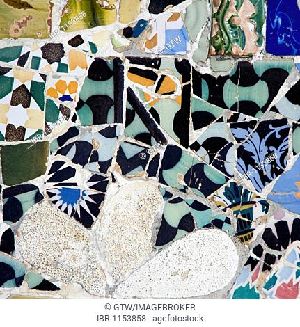 Painted tiles, Park Gueell, architect Antonio Gaudi, Unesco World Heritage Site, Gracia District, Barcelona, Catalonia, Spain, Europe