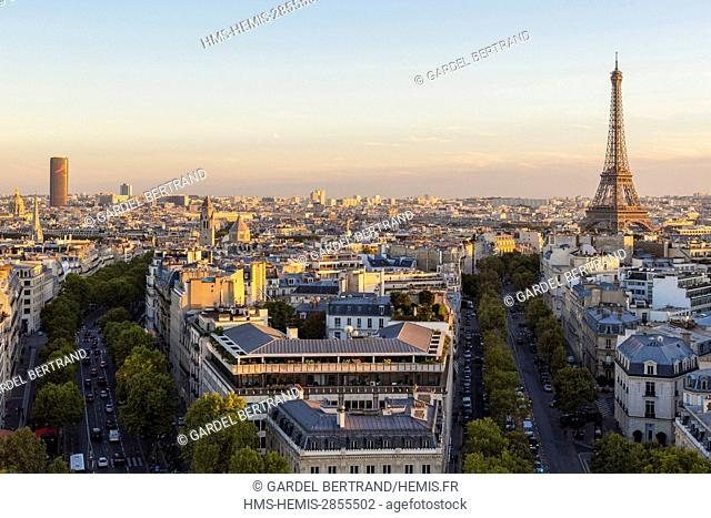 France, Paris, general view with the Avenue d'Iena leading to the Eiffel Tower
