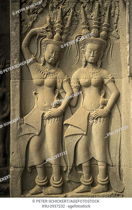 Apsaras in der Tempelanlage Angkor Wat, Kambodscha, Asien | Apsaras, Angkor Wat temple complex, Cambodia, Asia