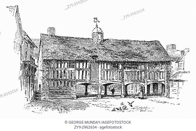 1890: The Old Market Hall at Llanidloes, built around 1600, it's the only surviving building of this type in Wales. Assize courts were held in the hall around...