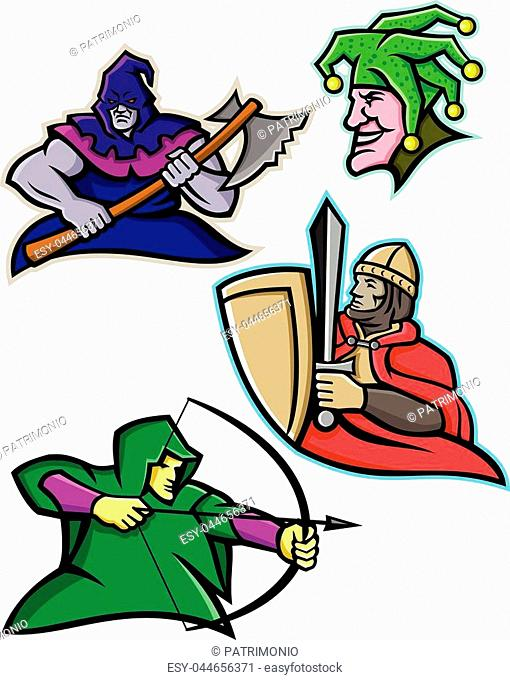 0205a1f3bb Mascot icon illustration set of a king or royal medieval court persons or  characters like the