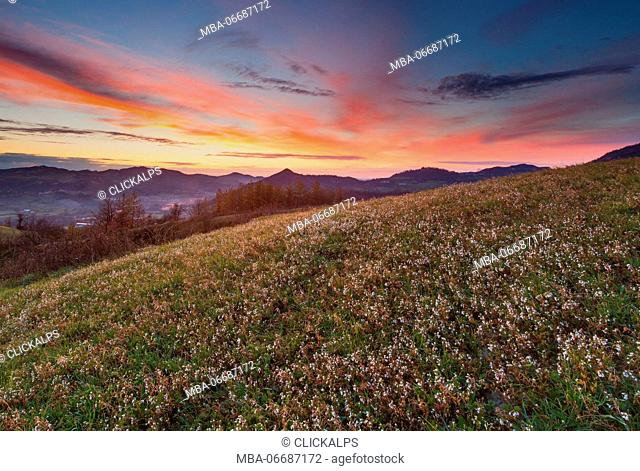 Lombardy, Italy. A spring sunset over the hills of Oltrepò Pavese
