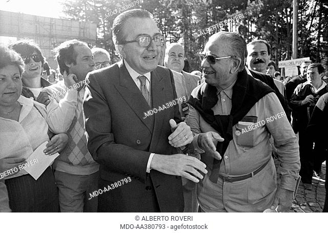 Giulio Andreotti among the crowd during the 7th National Friendship Day. Minister of Foreing Affairs of the Italian Republic Giulio Andreotti attending the 7th...