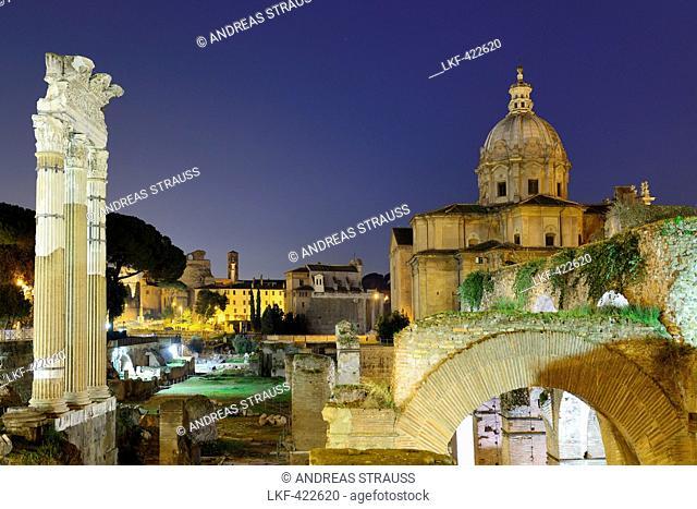 Illuminated Roman Forum with church Santi Luca e Martina in the background, UNESCO World Heritage Site Rome, Rome, Latium, Lazio, Italy