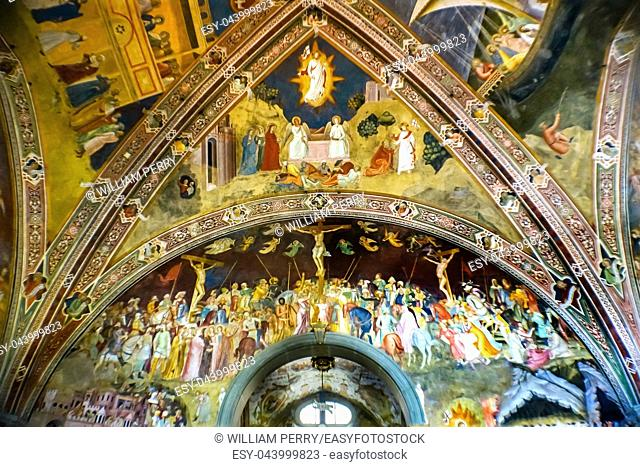 Crucifixion Resurrection Fresco Spanish Chapel Santa Maria Novella Church Florence Italy. First Church in Florence founded 1357