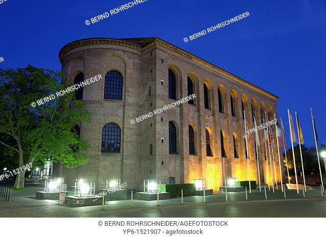 Basilica of Constantine, World Heritage Site, illuminated at night, Trier, Germany