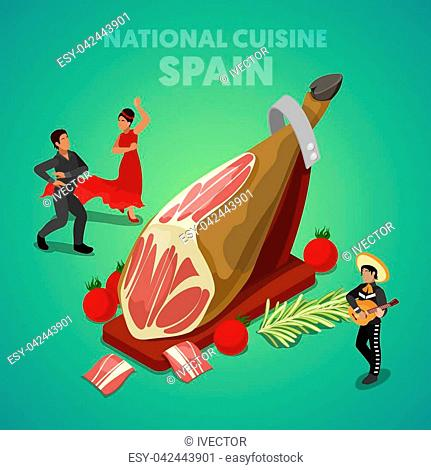 Isometric Spain National Cuisine with Jamon and Spanish People in Traditional Clothes. Vector 3d flat illustration