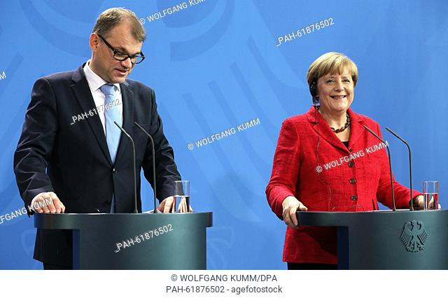 German Chancellor Angela Merkel (CDU) and prime minister of Finnland, Juha Sipila, answer journalists' questions during a press conference at the...