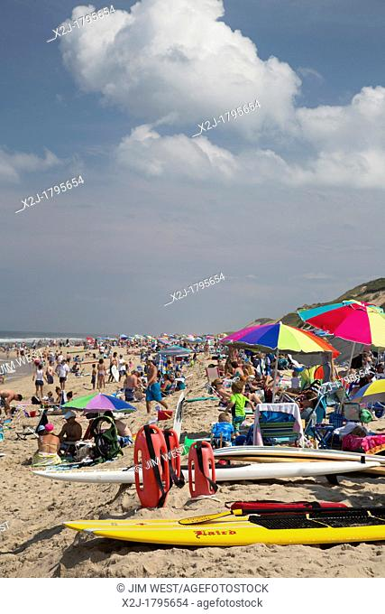 Truro, Massachusetts - The crowded Head of the Meadow Beach in Cape Cod National Seashore