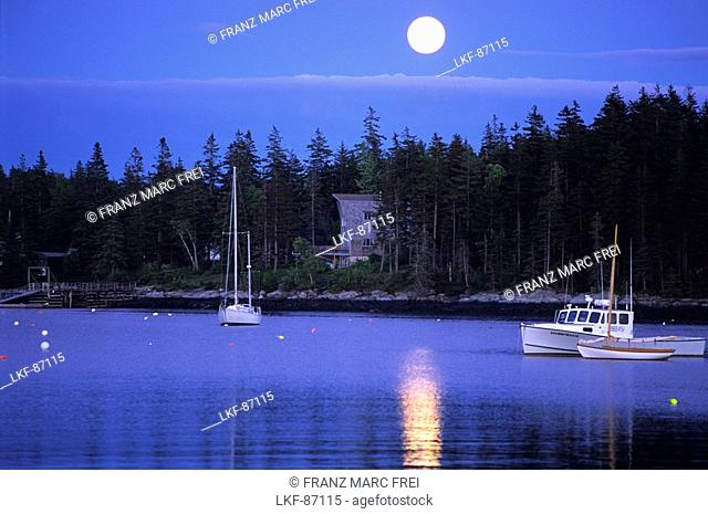 Full moon over Port Clyde, Maine, USA
