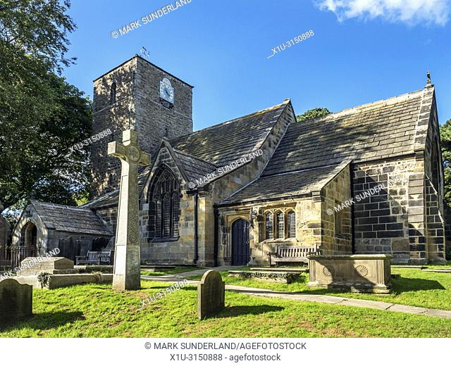 The Parish Church of St Oswald at Leathley in the Washburn Valley North Yorkshire England
