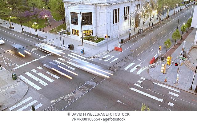 Time-lapse animation of traffic at an intesection in Philadelphia, Pennsylvania, United States