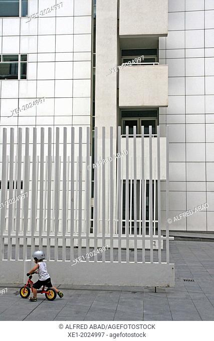 Door, Contemporary Art Museum, MACBA, 1995, arch. Richard Meier, Barcelona, Catalonia, Spain