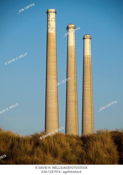 Power plant smokestacks in Morro Bay, California, United States America