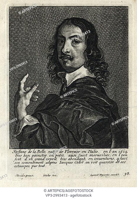 STEFFANO DE LA BELLE - Woodcut portrait and short biography (old french language) - Engraving 17th century