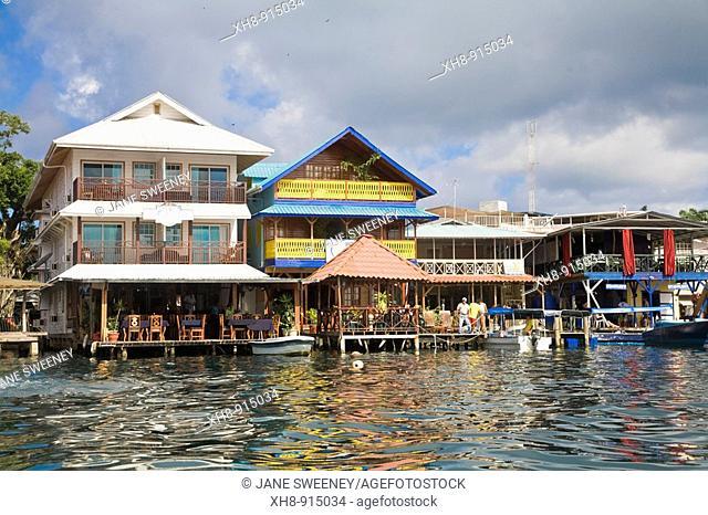 Waterfront hotels, Colon Island, Bocas del Toro Province, Panama