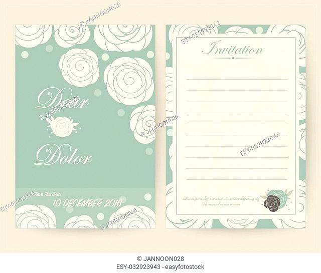 Vintage wedding invitation set design Template. Vector illustration