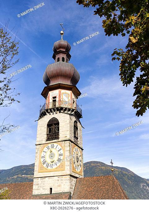 The church Rainkirche - Chiesa di Santa Caterina am Rain. Bruneck - Brunico in the Puster Valley - Pusteria in South Tyrol - Alto Adige