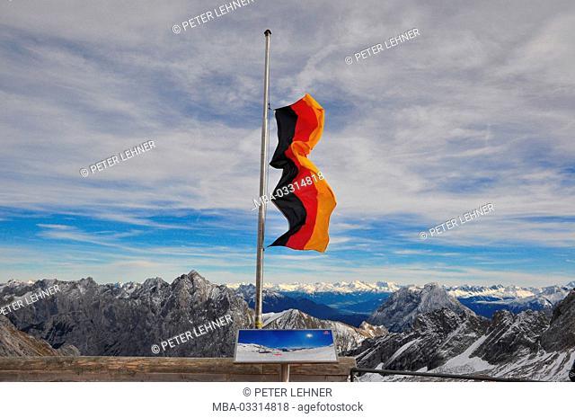 Germany, Bavaria, Werdenfels, Zugspitze (mountain), summits, Alpine panorama, storm, german flag