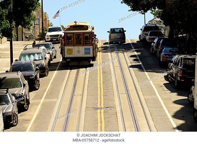 Cable car line Powell and Market, San Francisco, California, USA