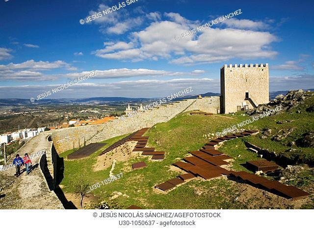 Tourist over the Castle walls of Celorico da Beira village, in Beira Alta  Guarda District  Portugal