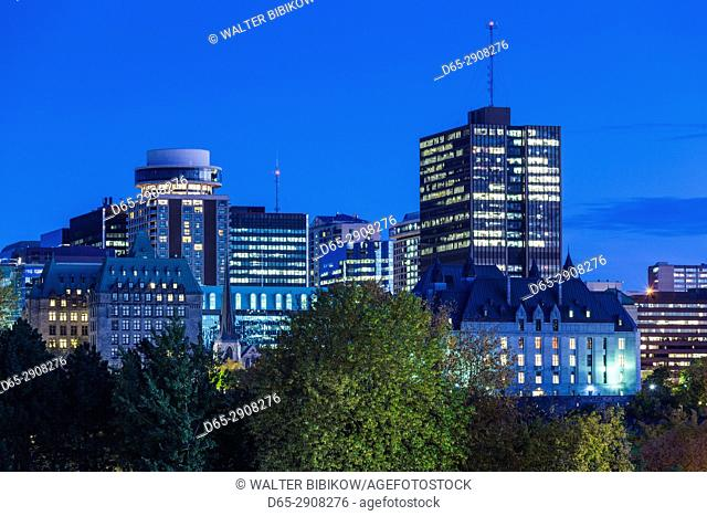 Canada, Ontario, Ottowa, capital of Canada, city view, evening