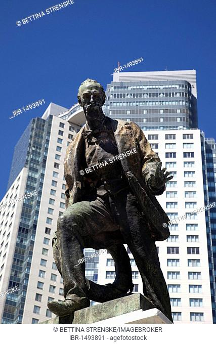 Statue of Luis Viale amidst modern high rise buildings in Puerto Madero, Buenos Aires, Argentina, South America