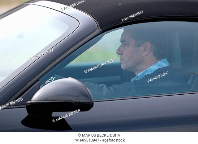 Borussia Dortmund sports director Michael Zorc arrives at the training grounds of Borussia Dortmund in Dortmund, Germany, 12 April 2017