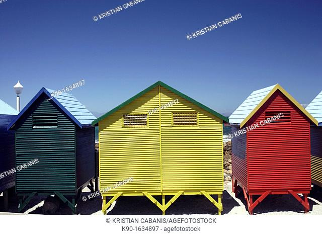 Colorful beach huts at the sandy beach of St  James with blue sky, False Bay near Cape Town, South Africa