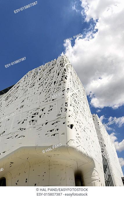 MILAN, ITALY - June 24: view of Italy pavillion edge under bright clouds, shot on jun 24 2015 Milan, Italy