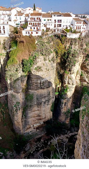 Ronda city and gorge seen from Puente Nuevo bridge, Malaga province, Andalusia, Spain, Europe