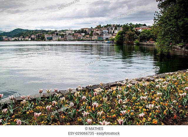 Park next to lake at Lugano (Parco civico), Switzerland