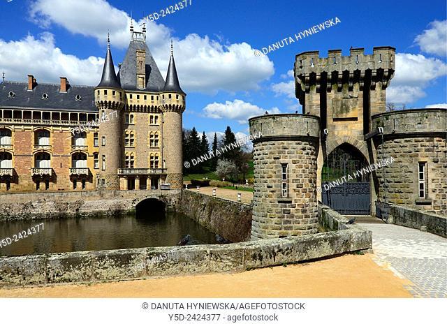 Main entrance to Castle in La Clayette, La Clayette Chateau, Saône-et-Loire department, region of Bourgogne, Burgundy, France