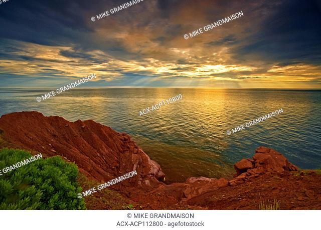 red sandstone cliffs along the Northumberland Strait, Prince Edward Island, Canada