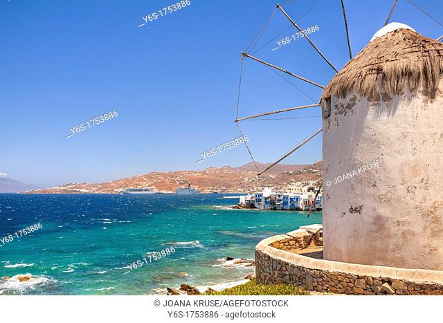 Kato Myli, Lower Mill Mountain, overlooking Little Venice, Mykonos, Greece