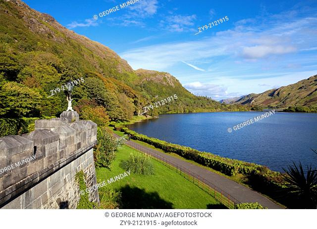 Kylemore Abbey (1860), on the banks of Fannon Pool, Connemara, County Galway, Ireland