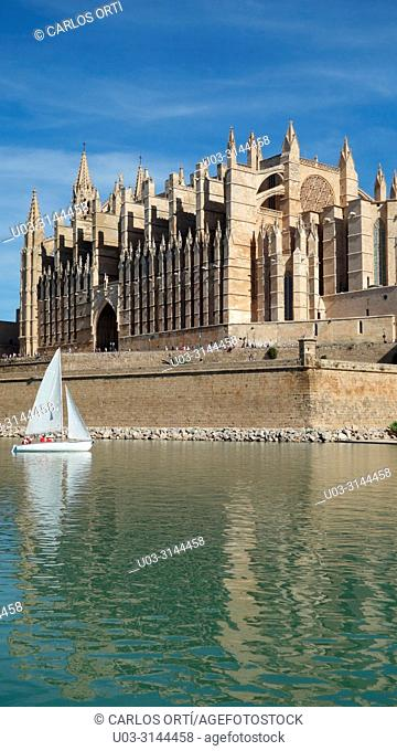 Sailboat in a lake in front of the cathedral of Palma de Mallorca, Balearic islands, Spain, Europe