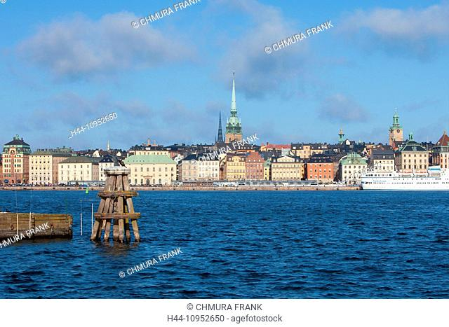 architecture, Baltic, blue, boat, building, buildings, capital, cities, city, cityscape, church, day, Europe, exterior, Gamla Stan, harbour, house, landmark