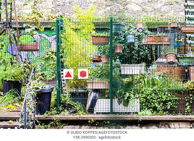 Paris, France. View on Urban Garden at Le Recyclerie Restaurant and Project. This piece of infrastructure was decommissioned by the Ministry of Defence