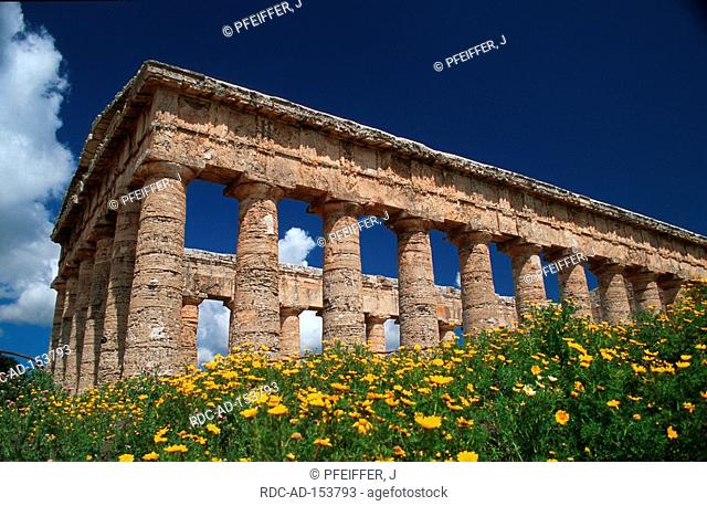 Ruins of greek temple valley of temples Segesta Sicily Italy