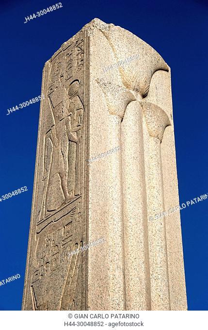 Karnak, Luxor, Egypt. Temple of Karnak sacred to god Amon: an obelisk of the king Tuthmosis III