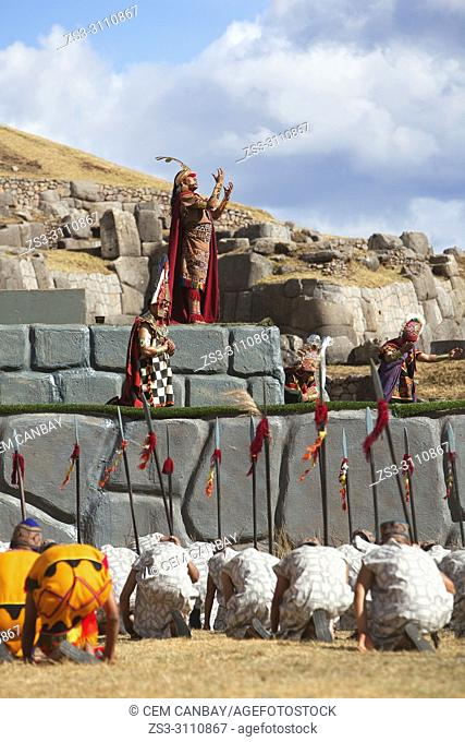 Scene from the Inti Raymi Festival at Saqsaywaman with the representative Inca King talking to the gods, Cusco, Peru, South America