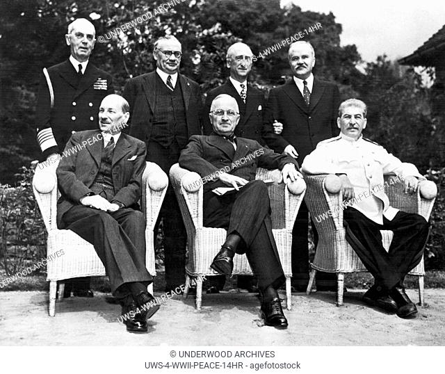 Potsdam, Germany: August 10, 1945.The scene in the palace garden at Potsdam as the Big Three posed for photographers just before the final peace conference...