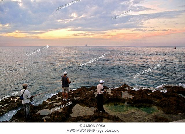 A group of anglers fishing in the Caribbean sea Havana, Cuba December 5, 2007 Officially known as Ciudad de La Habana, it is the capital city, major port