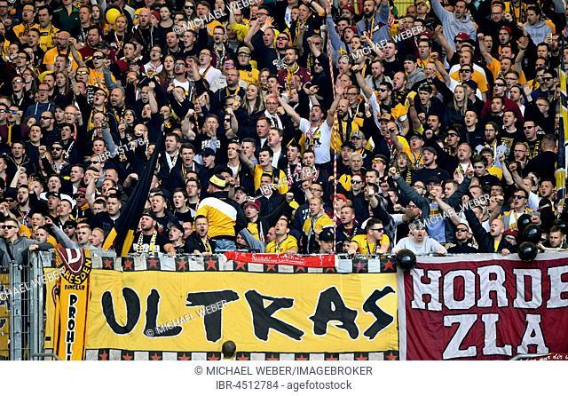 Public gallery at soccer match, Ultras, fan section Dynamo Dresden, Meredes-Benz-Arena, Stuttgart, Baden-Württemberg, Germany