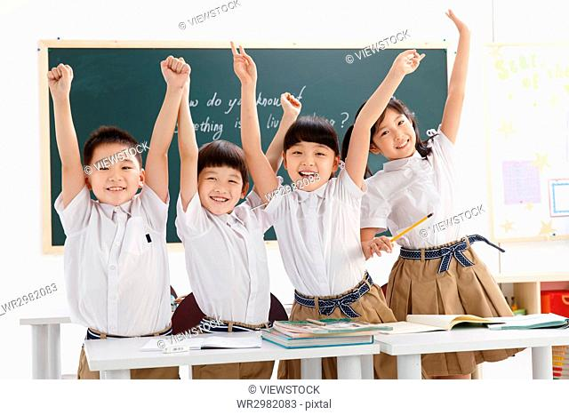 Cheerful students in classroom