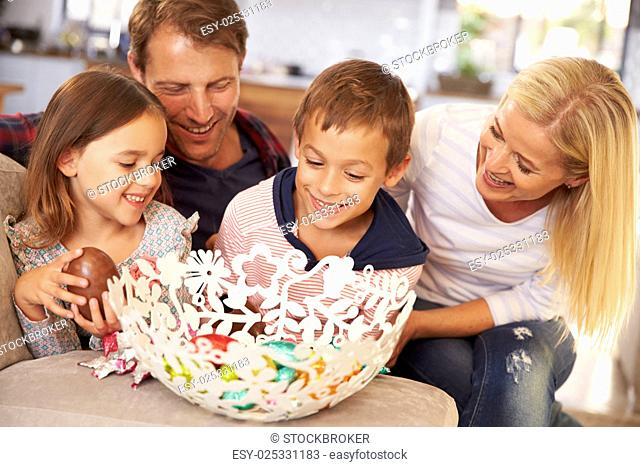 Family celebrating Easter at home