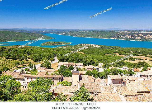 France, Var, Parc Naturel Regional du Verdon (Natural Regional Park of Verdon), Aiguines in front of Sainte Croix lake, Les Salles sur Verdon in the background