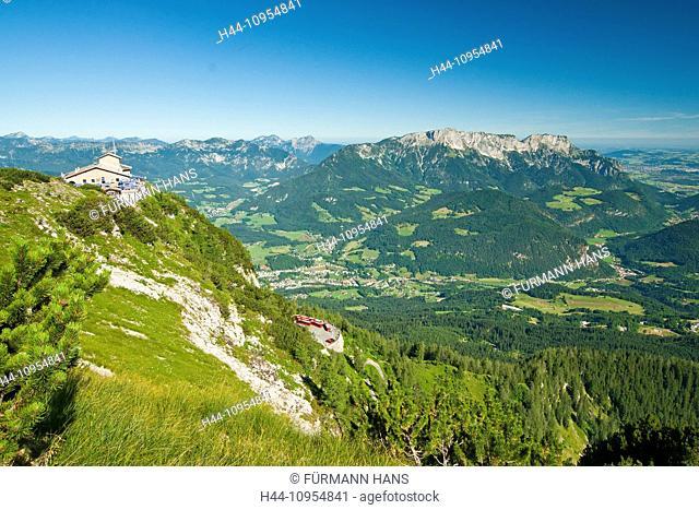 Bavaria, Germany, Upper Bavaria, Berchtesgaden country, Berchtesgaden, Kehlstein, house, summit, peak, Untersberg, Hochstaufen, Zwiesel, Lattengebirge, sky